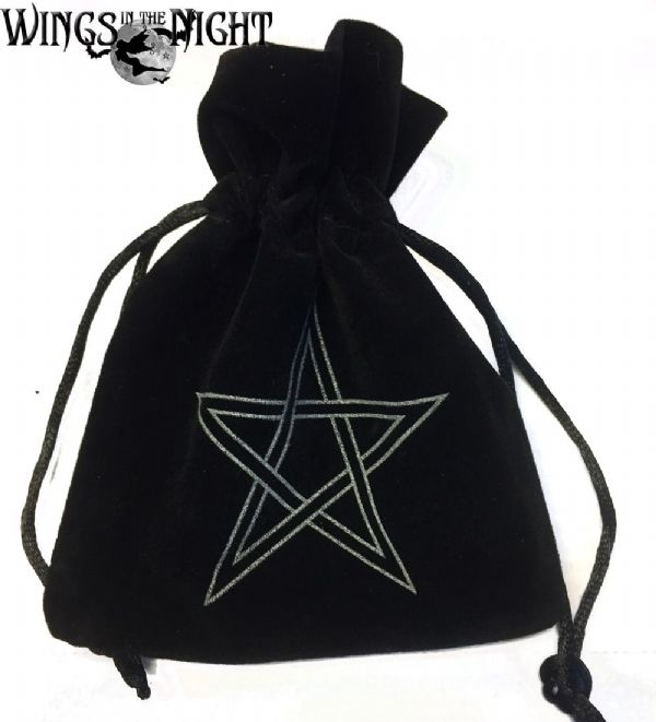 Black PENTAGRAM Pendulum / Crystal Velveteen Bag